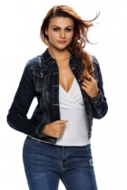 Dark Stone Wash Women Denim Jacket