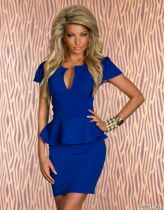 U-neck OL Peplum Dress Blue