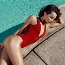 New Arrival Red Zipper One-piece Swimsuit Sexy Lady Swimwear
