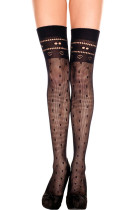 Dot and Heart Seamless Thigh High Stockings