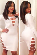 White Sexy Cut-Out Long Sleeves Party Bodycon Dress
