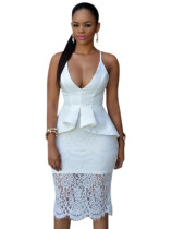 White Crossover Straps Floral Lace Overlay Peplum Dress
