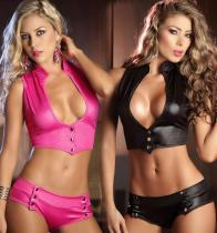 Exotic Sexy Leather Lingerie Hot Women Clubwear