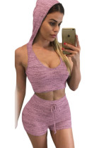 Taro Stylish Casual Hooded Crop Vest Short Set