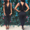 Hot sale women jumpsuit black v-net  women pant sets