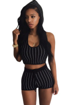 Stripe Hooded Crop Top and Short Set Black