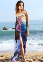 Blue Floral Print Chiffon Beach Cover-up