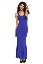 Royal Blue Hollowed Back Maxi Jersey Dress