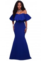 Ruffle Blue Off Shoulder Ponti Maxi Party Dress