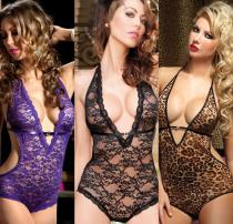 Sexy Dark V-net Lace Lingerie Leotard Women's Pajamas
