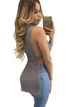 Gray Ribbed High Neck Side Split Top