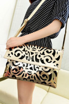 Gold Retro Patterned Party Clutch Bag
