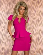 U-neck OL Peplum Dress Rose