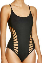 Solid Black Strappy Cutout One Piece Swimsuit