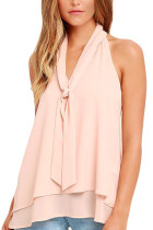 Pink Double Cascading Ruffle Neck Tie Sleeveless Top