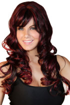 Luxury Dark Wine Long Wave Wig