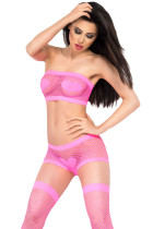 Neon Pink Heart Pattern Fishnet Lingerie Set
