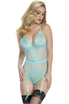 Light Blue Eyelash Lace Teddy with Garters