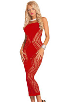 Red Zig Zag Shred Seamless Long Dress
