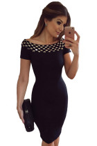 Studded Off Shoulder Black Short Sleeve Bodycon Dress