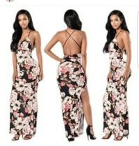 Colorful Print Long Dress Sexy Backless Women Dress