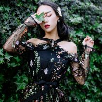 Black Fashion Print Flower Boho Dresses Embroidery Girls Dress