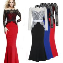 New Style Sexy Lace Long Sleeve Evening Dresses Off The Shoulder Party Dress