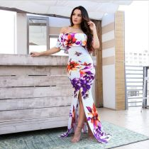 New Fashion Printing Flowers Off The Shoulder Maxi Dress