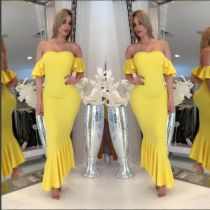 Sexy Off-Shoulder Yellow Evening Dresses Fashion Fishtail Party Dress Wholesale