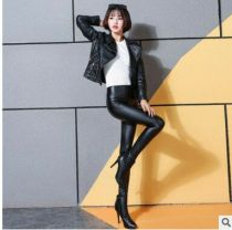 Fashion Seamless Black Leather Pants Hot Sale