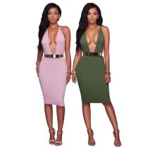 New Arrival Dark V-neck Midi Dresses Sexy Harness Backless Women Dress