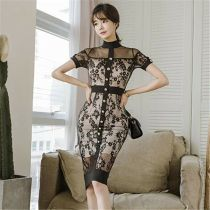 Sexy Black Lace Jacquard Midi Dress Elegant Women Dress