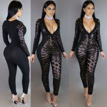 Black Long Sleeve Fashion Sequins Jumpsuits Sexy V-neck Women Jumpsuits