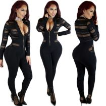 Sexy Black Net Yarn Splicing Jumpsuit Wholesale