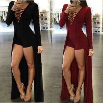 Fashion Dark V-neck Puttee Women Jumpsuit Long Sleeve Women Dresses