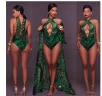 Fashion Print Green Two pieces Bodysuit Beach Long Dress Wholesale