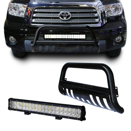 Black Bull Bar Brush Bumper Grille Guard + 4D Lens 126W Led Light for Toyota Tundra 07-13