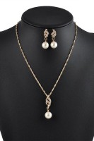 Crystal Pearl Necklace Earrings TY077