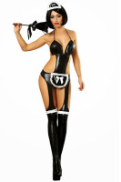 Sexy Neckholder Wetlook Paint Maid Costume L15336