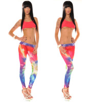 Ladies Sexy Colorful Lightning Print Stretchy Tight Digital prin