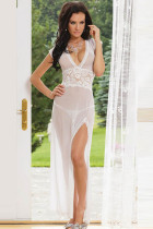 Mesh and Lace V Neck Gown L5081-1
