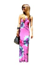 Sleeveless Strap Printed Maxi Dress L51335