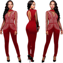 Plus Size Long Sleeve Sexy Jumpsuits L55255-1