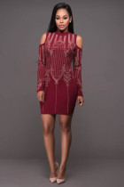 Pembroke Burgundy Gold Studded Long Sleeves Dress L28120-2