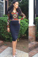 African Print Crop Top and Pencil Skirt Set L27937