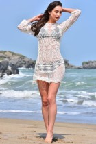 White Lace Sheer Long Sleeve Beach Swimsuit Cover Up L38364