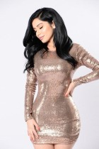 Long Sleeves Gold Sequined Mini Prom Dress L28147