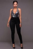Julienne Silver Sequins Black Halter Jumpsuits L55261