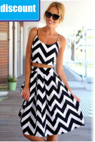 Wavy Striped Crop Top and Skirt Suit L27864
