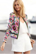 Retro Style 3/4 Sleeves Floral Print Jacket  L435